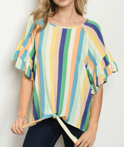 #1271 Blue, Green, Peach Stripe Top - FINAL SALE