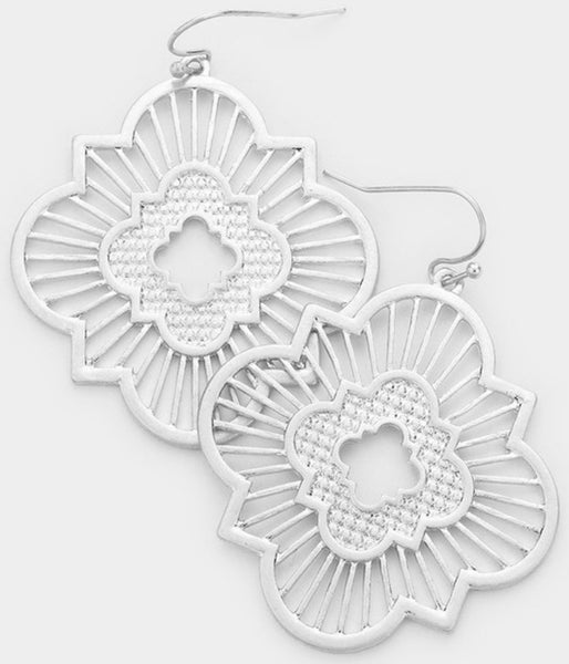 #1422 Silver Sunburst Earrings