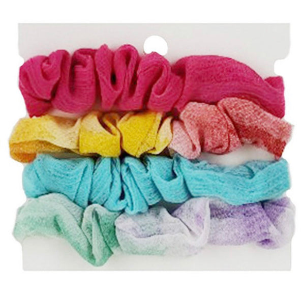 #1340 Set 4 Rainbow Tie Dye Assorted Scrunchies