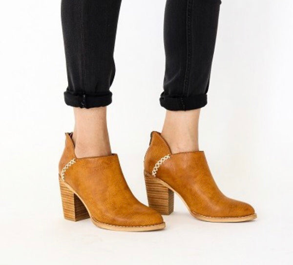 Cognac Stitched Booties