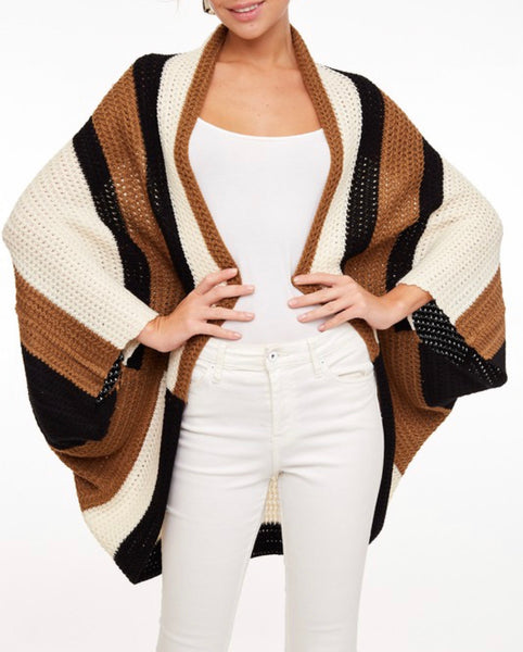 #795 Stripe Crochet Kimono Black, Cream, Brown