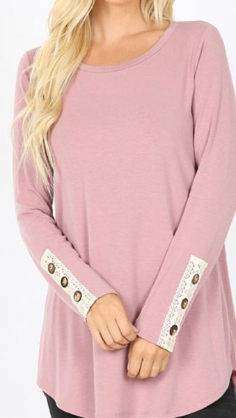 #1101 Pink Lace Button Sleeve Top