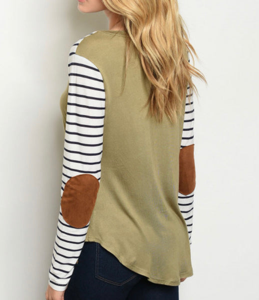 Olive Stripe Elbow Patch Top