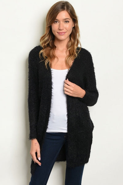 Black Fuzzy Sweater Cardi