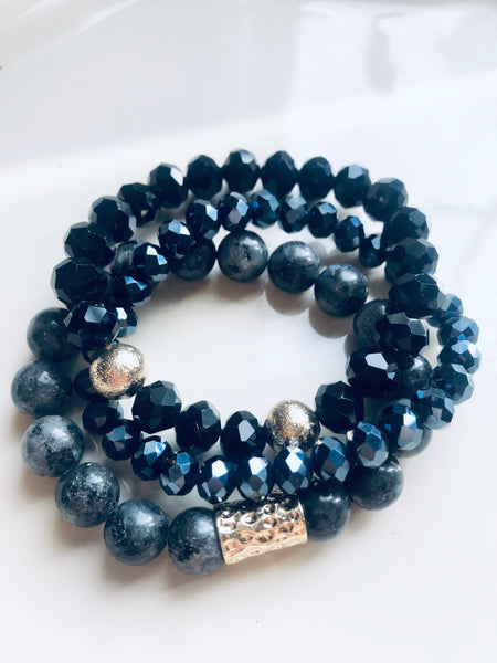 #800 Stone Black Set of Bracelets