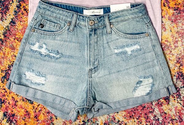 #1679 Kancan Light Wash Cuff Shorts