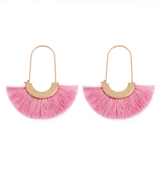 #859 Pink Fringe Earrings