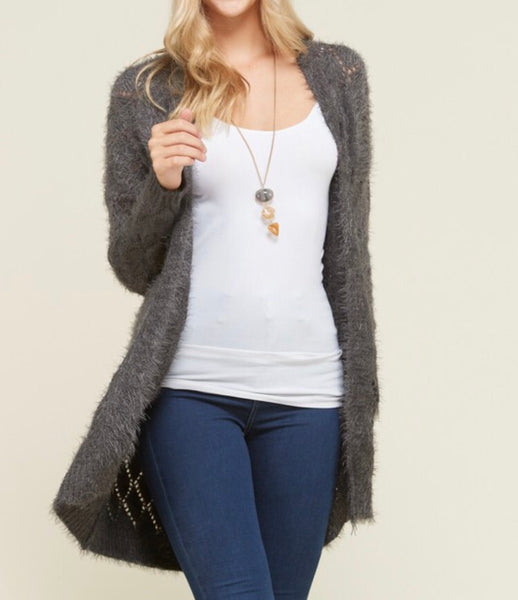 Gray or Cream Fuzzy Cardigan