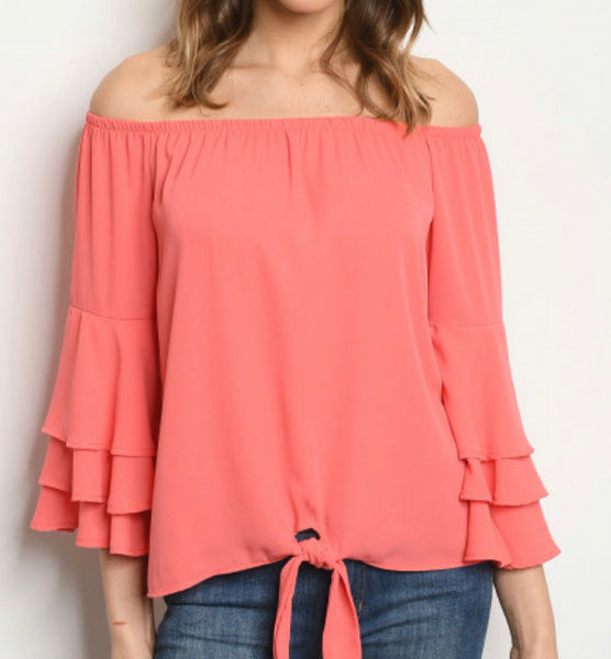 #1339 Coral Ruffle Sleeve Top