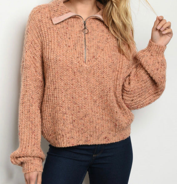 #777 Peachy Pink Zip Sweater