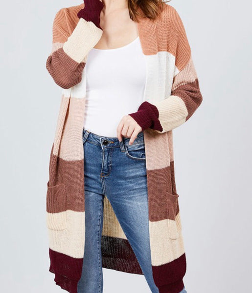 Colorblock Burgundy Cardigan