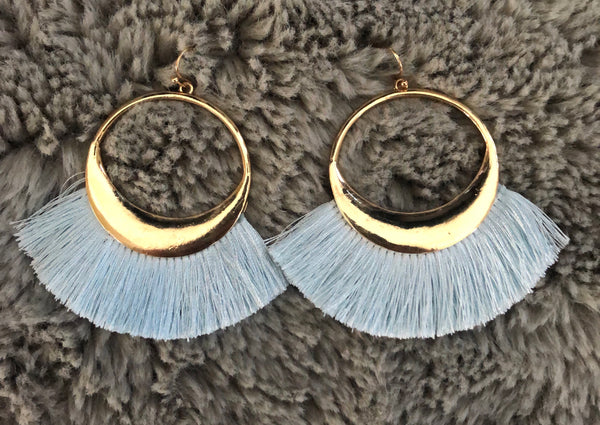 #1097 Baby Blue Fringe Earrings