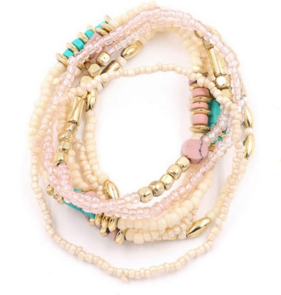 #1413 Pink/Cream/Mint Bracelet Set