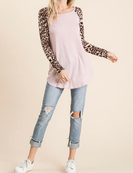 #840 Blush Leopard Top