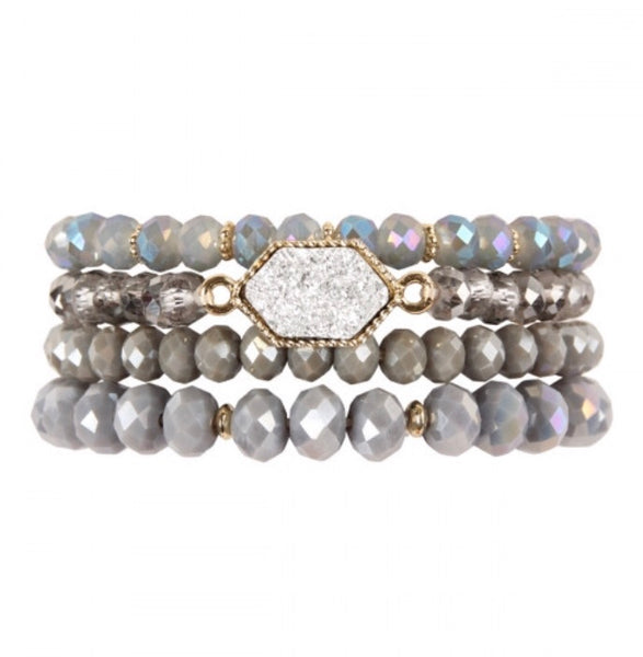 #401 Gray Druzy Set Of Bracelets