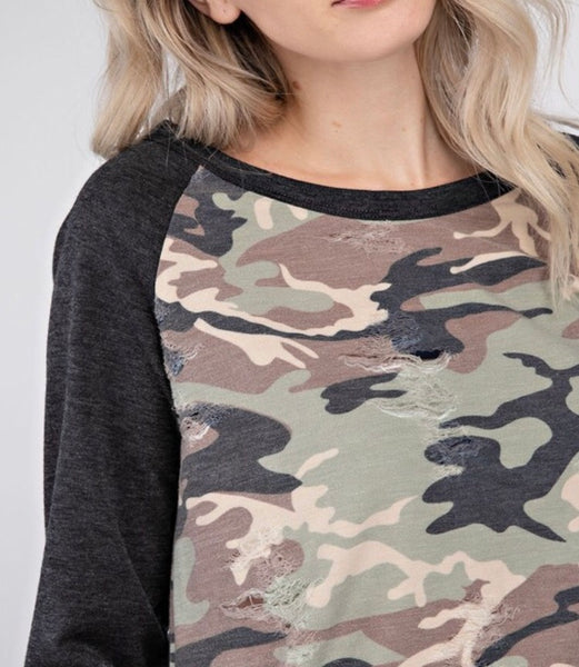 Dark Gray or Cream Camo Distressed Top