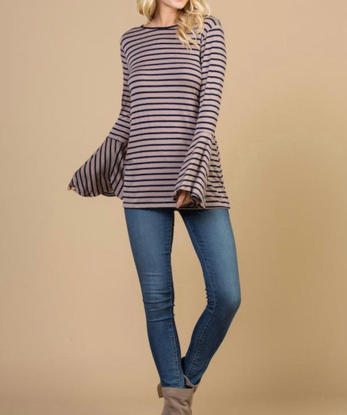 #845 Navy & Taupe Stripe Bell Sleeve