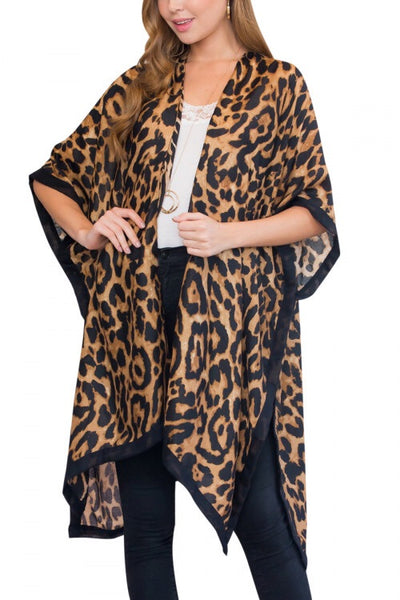 #606 Fall Leopard Kimono - One Size Fits All