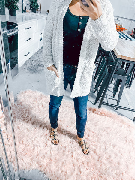 #2131 Ivory Popcorn Pocket Cardigan