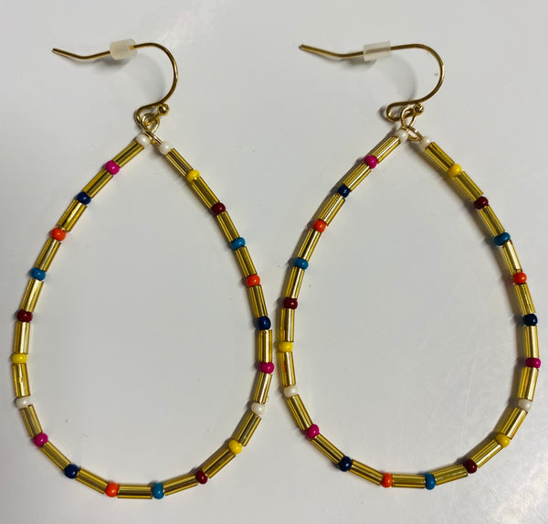 #1720 Tropical Bead Tear Drop Earrings