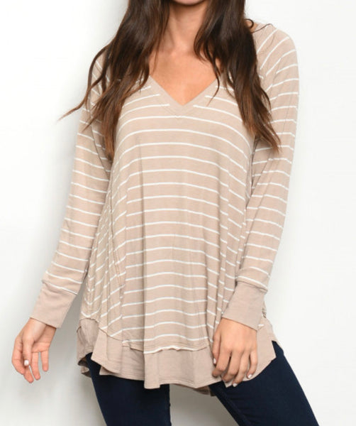#724 Mocha White Stripe Tunic