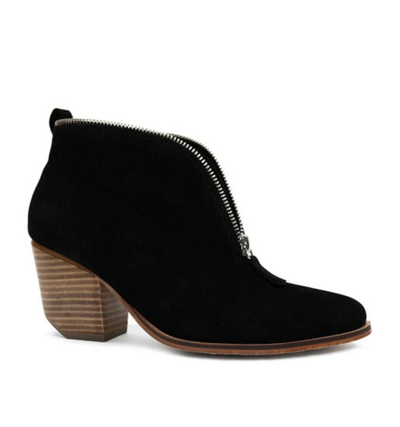 Black Suede Zipper Bootie