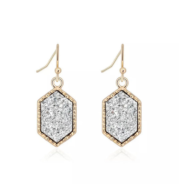 #824 Silver & Gold Druzy Earrings