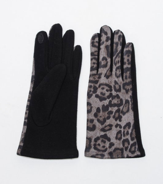 #762 Gray Leopard Gloves