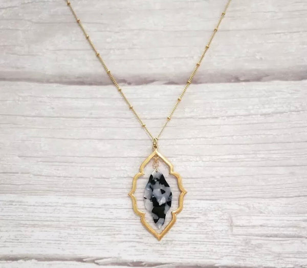 #746 Moroccan Gray/Gold Necklace Long