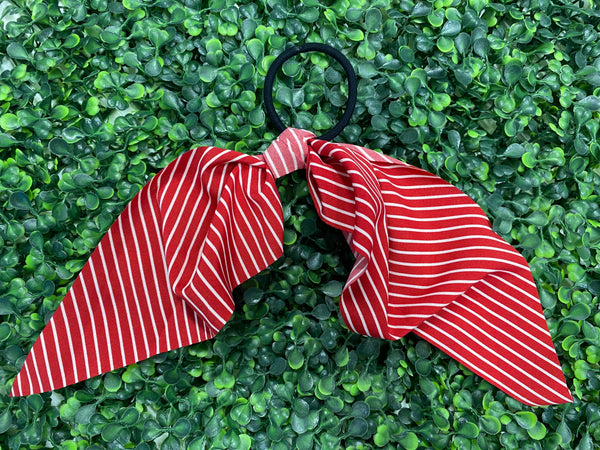 #1681 Red Striped Hair Scarf