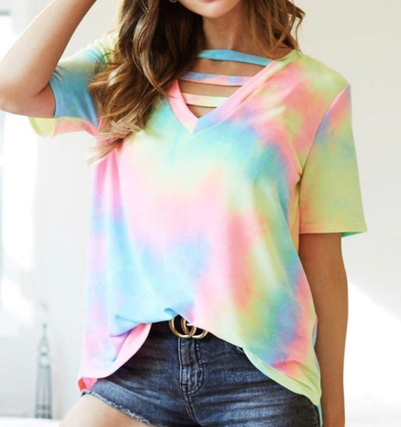 #1701 Neon Tie Dye Caged Top