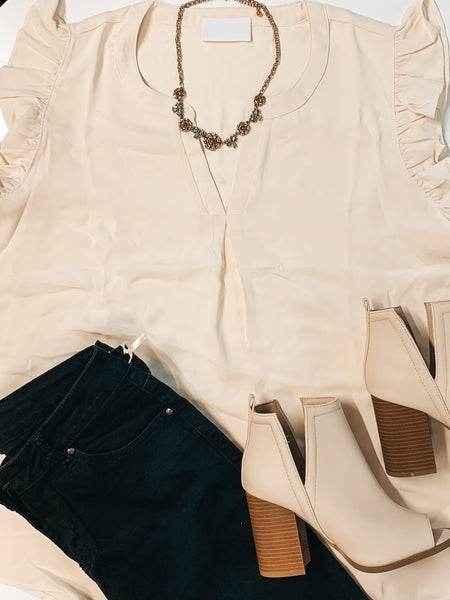 #1982 - Plus Size Only - Cream Ruffle Top