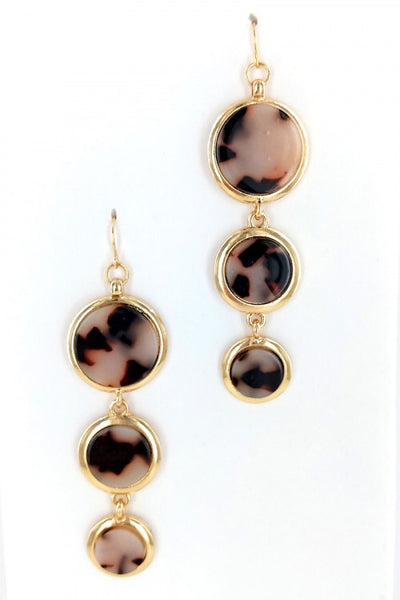 Leopard Resin Triple Drop Earrings