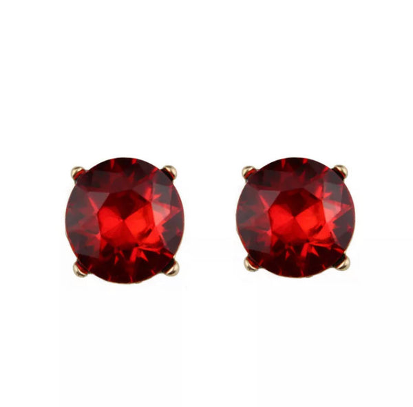 #819 Crystal Glam Earrings Red