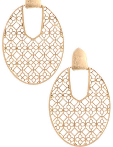 #1468 Gold Filigree Post Earrings