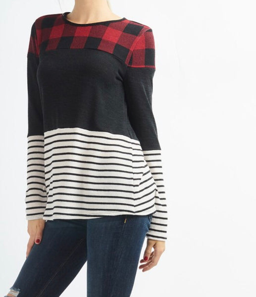 Buffalo Check Stripe Top