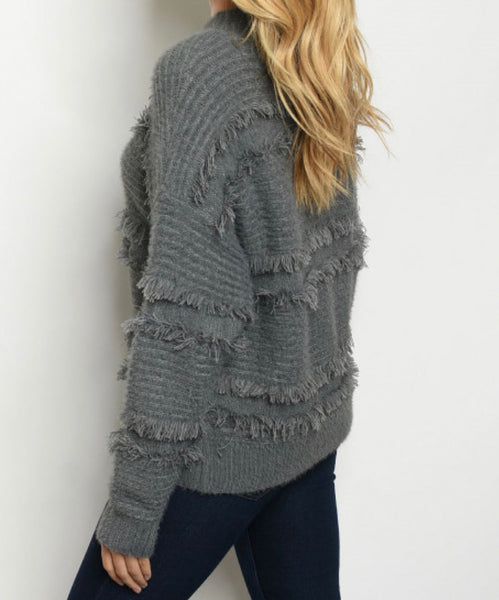 #754 Fringe Gray Sweater