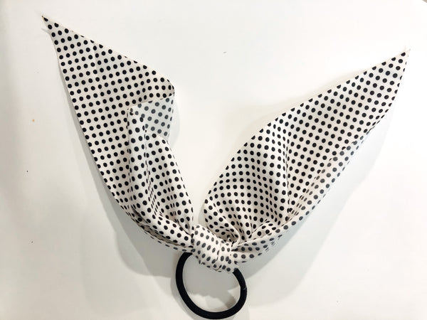 #1460 Polka Dot Hair Tie - White