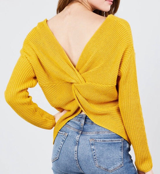 Mustard Twist Back Sweater