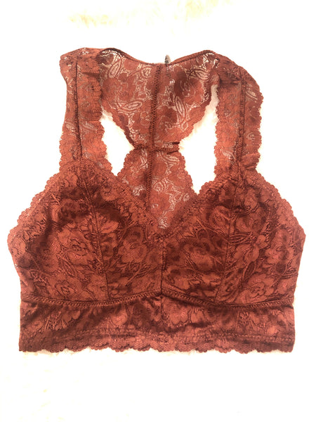 #709 Lace Bralette Rust Unpadded