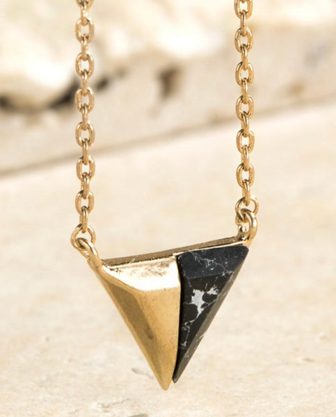 #2168 Triangle Black Necklace