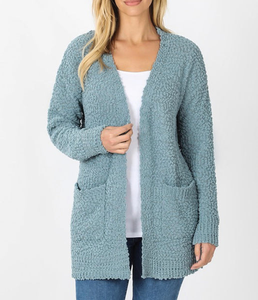 #1047 Powder Blue Popcorn Pocket Cardigan