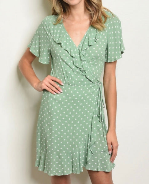 #423 Polka Dot Sage Dress