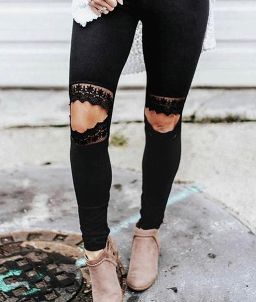#2089 Lace Knee Black Leggings