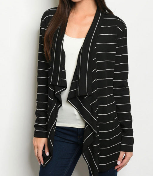 #764 Elbow Patch Stripe Black Cardigan