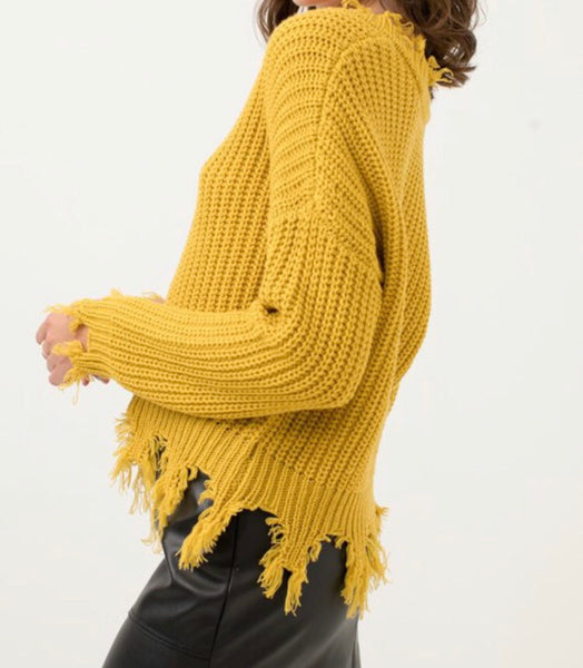 Mustard Fringe Sweater