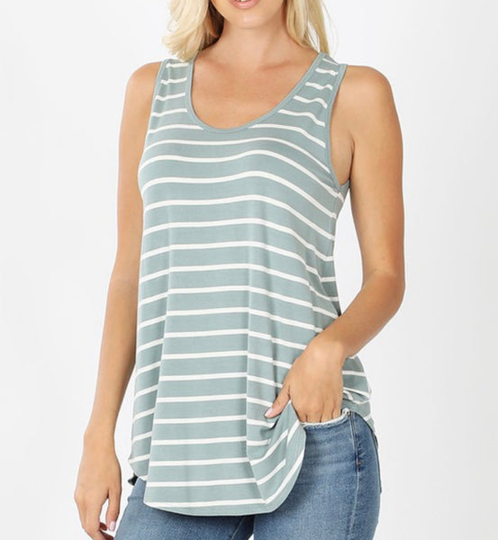 #11 Stripe Top - SAGE
