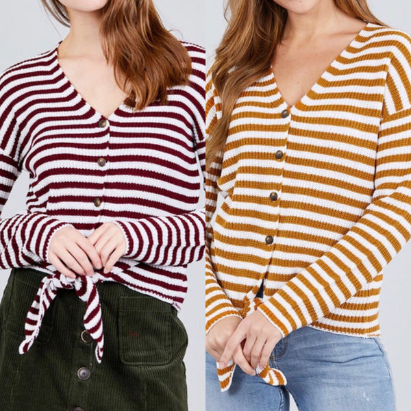 Tie Stripe Gold or Burgundy