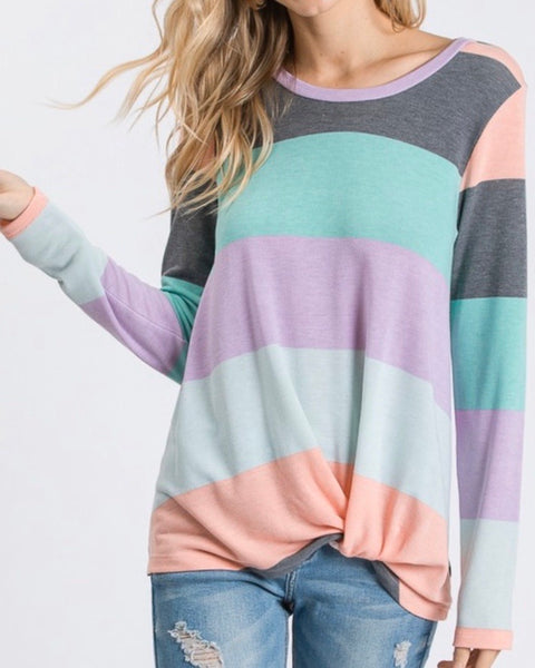 #952 Neapolitan Stripe Twist Top