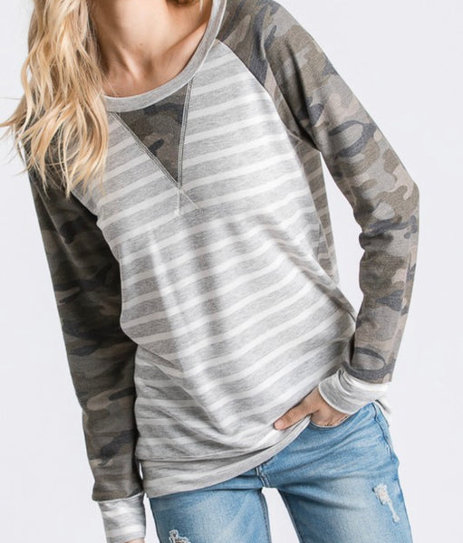#975 Camo Stripe Gray Top